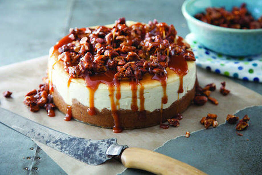 """Hipster"" spiced nuts and ""sweet and showy"" caramel turn this New York cheesecake into Bridge & Tunnel Cheesecake, a dessert with a definite attitude. Credit: Chia Chong for ""Sweet & Vicious: Baking With Attitude"" by Libbie Summers; Rizzoli, 2014. Photo: Photographer:  Chia Chong"