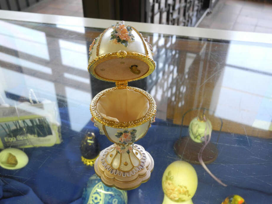 A music box stands out in Katherine Egger's collection, which includes both real and synthetic eggs. Photo: Gail M. Williams | Plainview Herald