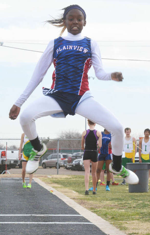 Kaizha Roberts, shown winning the long jump at the Reagor-Dykes Bulldog Relays earlier this month, won the event at the War Hawk Classic in Abilene over the weekend. Photo: Skip Leon/Plainview Herald