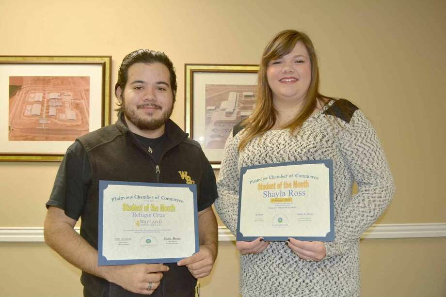 "Refugio ""Tiger"" Cruz from Wayland and Shayla Ross of Plainview Christian High School were recognized Tuesday by the Plainview Chamber of Commerce as Students of the Month. Cruz, 22, is a junior and the son of Becca Cruz of Plainview. His fields of study are recreation and camp management, and he works on campus for Student Housing and the Wayland Bookstore, and runs the fire pits on Thursday nights. An Eagle Scout and Clay Warren Scholarship Award recipient, Cruz enjoys camping, backpacking , building and cooking. He is a greeter at Stonebridge Fellowship. After graduation, he plans to work with youth who lack direct parental contact, such as those in foster care, at Cal Farley's Boys Ranch or the Children's Home of Lubbock. Ross, 17, is the daughter of Bobby and Shonda Ross and a senior at PCHS. She was Student of the Month for February, but unable to attend that meeting. Her school activities include volleyball, shotput and discus in track and Student Council chaplain for two years. She was recognized as Most Improved in both track and volleyball for 2013-14, and placed fourth in shotput at the state track meet. She is a member of Garland Street Church of Christ, secretary of the Junior Literacy Council and a member of the Junior American Cancer Society. Following graduation from PCHS, she plans to major in psychology at Lubbock Christian University."
