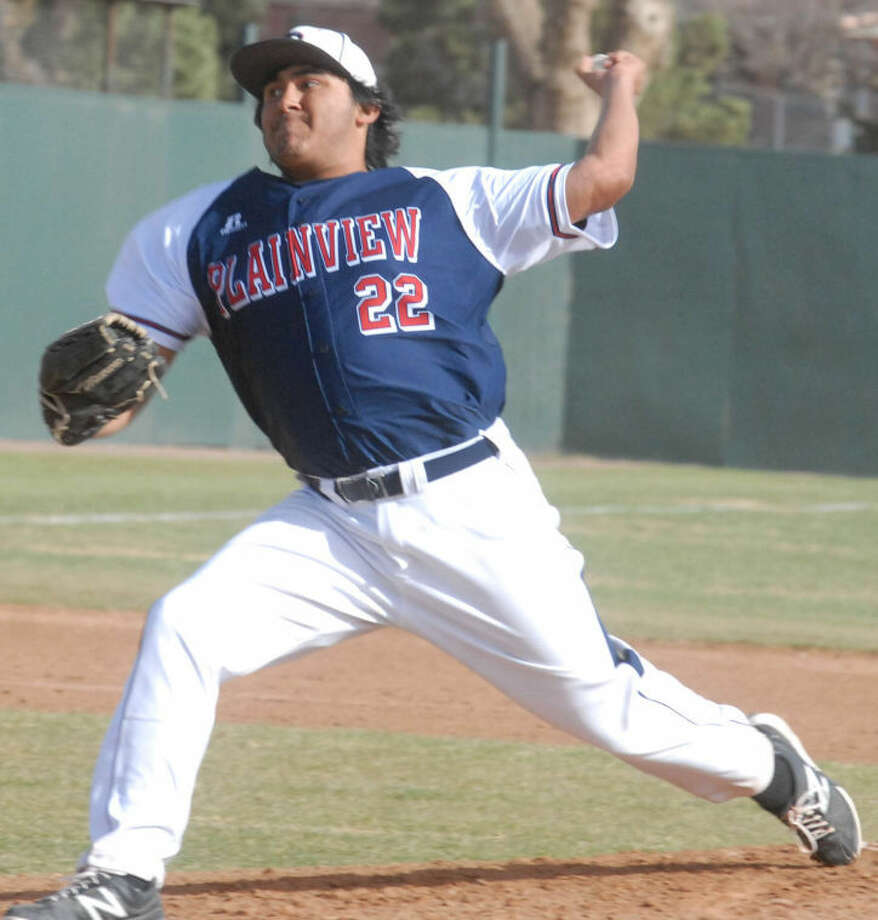 Arron Gonzales, shown pitching in Plainview's district opener, fired a five-inning no-hitter against San Angelo Lake View Tuesday. Photo: Skip Leon/Plainview Herald