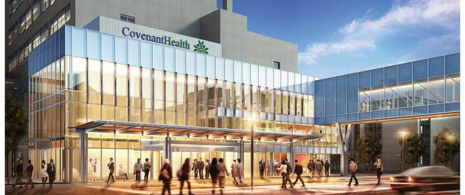The first phase of renovations to Covenant Medical Center in Lubbock will include closing valet parking and filling that space with a new kitchen, cafeteria, endoscopy and physician dining. The primary entrance to the hospital will be updated, as shown in this illustration.