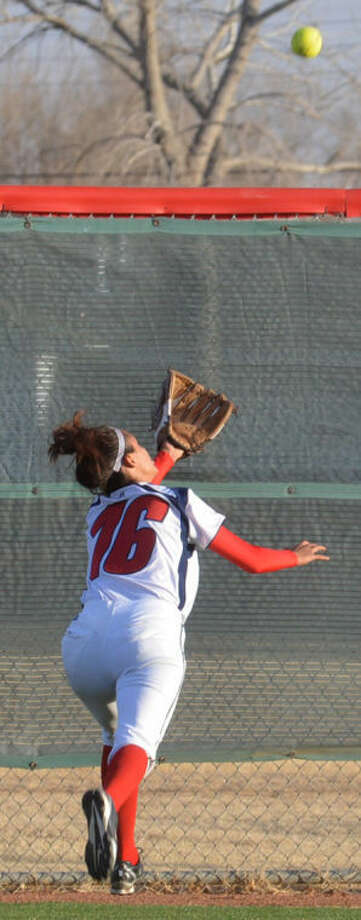 Center fielder Olivia Montano, shown chasing a fly ball during a game earlier this season, has provided strong defense up the middle for the Lady Bulldogs. Photo: Skip Leon/Plainview Herald