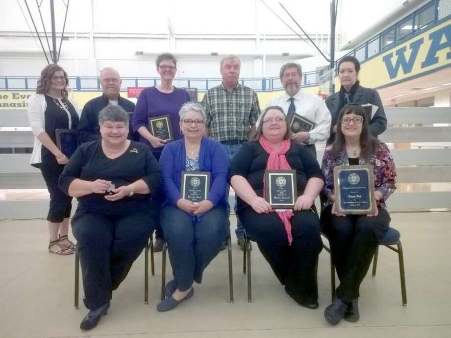 Wayland Baptist University PhotoWayland Baptist University recognized employees for outstanding service on Friday. Among those receiving special recognition were Wendy Dunlap (standing left), Eddie Turner, Kelli Watson, Mark Hilliard, Dr. Niler Pyeatt, Dr. Candace Keller, Dr. Estelle Owens (seated left), Beverly Steed, Bertha Sistrunk and Tommie Flick.