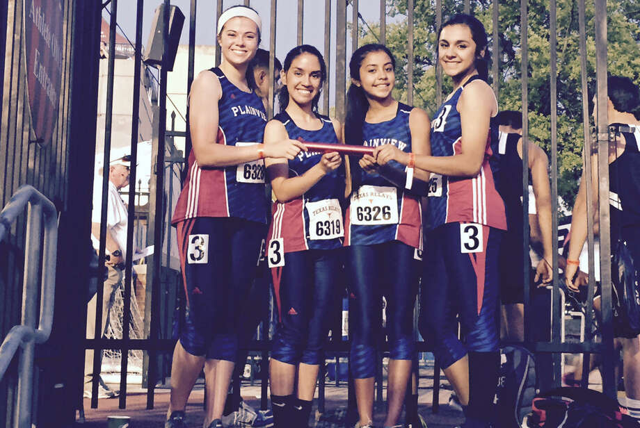 The Plainview girls 4x400 relay team set a school record with a time of 4 minutes, 9.38 seconds at the Texas Relays Friday. That easily broke the old mark of 4:14. Members of the record-setting relay team are (from left) Brooke Walker, Breana Figueroa, Kristan Rincon and Juliana Perez. Photo: Courtesy Photo