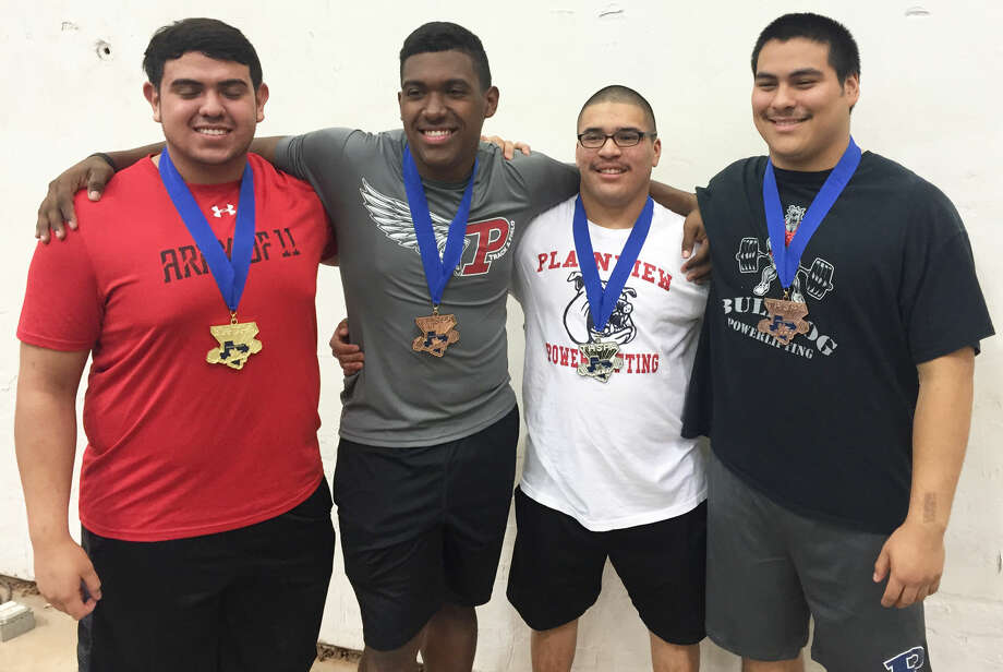 Four Plainview Bulldogs earned medals at the state powerlifting meet in Abilene Saturday. They are (from left) Erik Mendez, the state champion in the 275-pound weight class; Crystin Baston, fourth in the 220-pound weight class; Domingo Saucedo, second in the 198-pound weight class; and Moises Garcia, fourth in the 242-pound weight class. Photo: Courtesy Photo