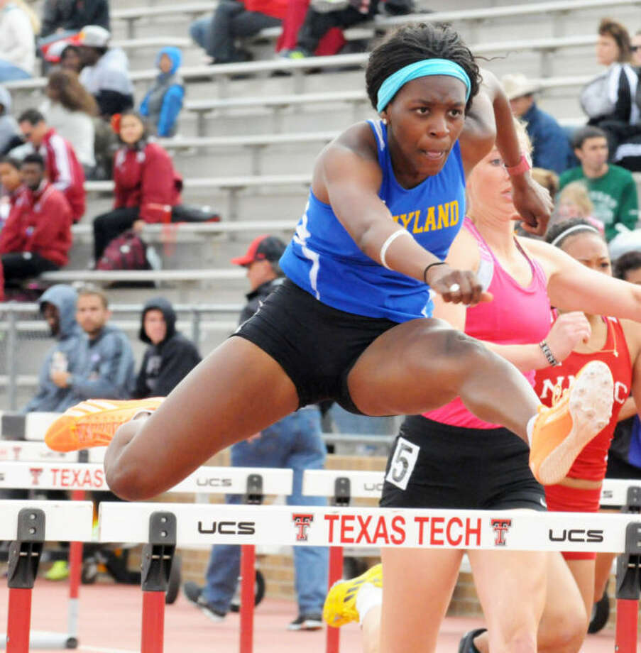 Wayland Baptist's Janelle Durrough competes in the 100-meter hurdles at Saturday's Texas Tech Open at Fuller Track and Field Complex.  Photo: Kevin Lewis/Wayland Baptist University