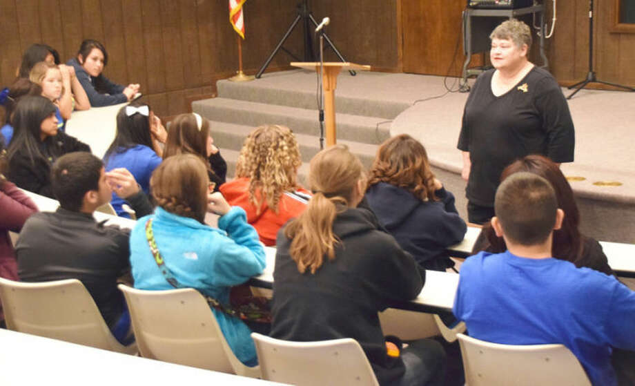 Jan Seago/Plainview ISDDr. Estelle Owens, professor of history at Wayland Baptist Unveristy, speaks to Estacado Gear Up students on the history of the local university.