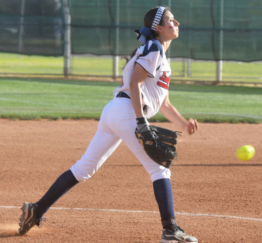 Plainview's Criselda Luna sends a pitch toward home plate during a game earlier this season. Luna fired a three-hitter and fanned 13 batters to lead the Lady Bulldogs to their first District 4-5A victory, a 6-1 decision at Lubbock High Friday. Photo: Skip Leon/Plainview Herald