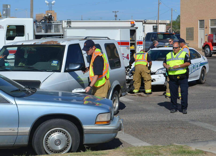 There were no injuries in a three-vehicle crash about 10:30 a.m. Monday, April 6, 2015, at Fifth and Date. A 1994 Chevy Astro van driven by John LaFuente, 76, was traveling west on Fifth Street when it turned left in front of a 2014 Chevy Impala patrol unit traveling east and driven by Plainview Police Patrol Officer Brandon Hodges, 31. Those two vehicles collided in the intersetion, with the Astro van then striking a 1993 Buick Roadmaster driven by Calvin Dale Fraizer, 66, of Plainview. The Buick, traveling north on Date Street, was stopped for a traffic light. There were no injuries and LaFuente was issued a citation for failing to yield to oncoming traffic while making a left turn. All three vehicles had to be towed from the scene.