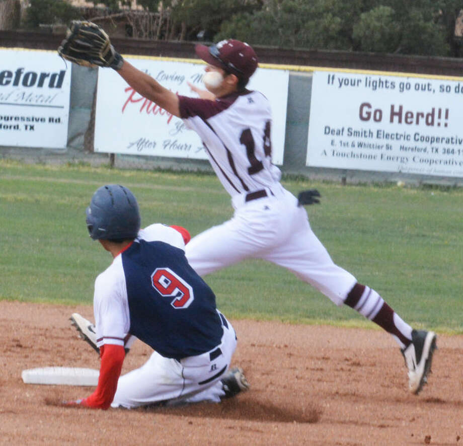 Plainview's Michael Soliz (9) slides into second base as the throw gets past the Hereford second baseman in the first inning of a District 4-4A baseball game at Hereford Thursday. Plainview won the game, 15-3, and clinched a postseason playoff berth. Photo: Skip Leon/Plainview Herald