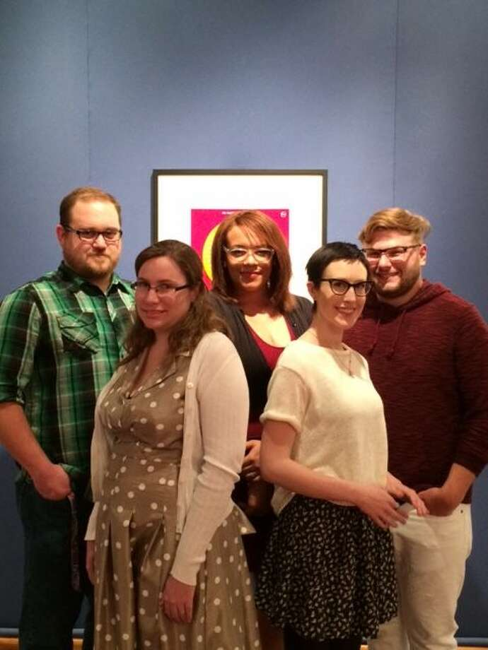 Wayland Baptist University senior art students get ready to show their course work at the Senior Practicum Exhibition beginning Friday. Pictured are Robert Hovey (left), Tami Patterson, Nina Wyre, Monte Ratchford and Steven Burgin. Photo: Courtesy Photo
