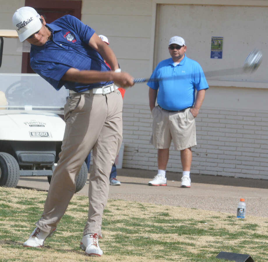 Plainview's Ryan Castillo, shown teeing off during a tournament earlier this season, shot a hole-in-one during the final round of District 4-5A play in San Angelo Tuesday and led the team with a 78 as the Dogs finished second and qualified for the regional tournament. Photo: Skip Leon/Plainview Herald