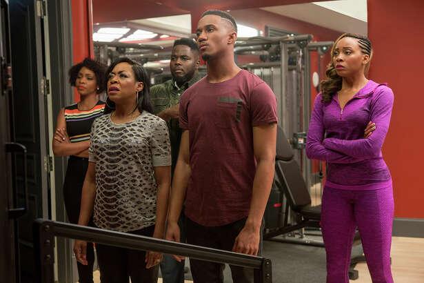 "Teyonah Parris (left), Tichina Arnold, Catfish Jean, Jessie T. Usher and Erica Ash in ""Survivor's Remorse."" The third season premieres Sunday, July 24."