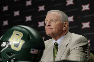 Baylor head coach Jim Grobe listens to a question during the Big 12 college football media days in Dallas, Tuesday, July 19, 2016. (AP Photo/LM Otero)