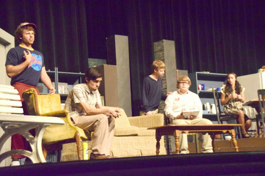 "Jan Seago/Plainview HeraldPHS Theater students Brendan Voss (left), Aaron Chavez, Alex Driggars, Wiley Hawkins and Miranda Trevino present a scene from ""The Boys Next Door."""