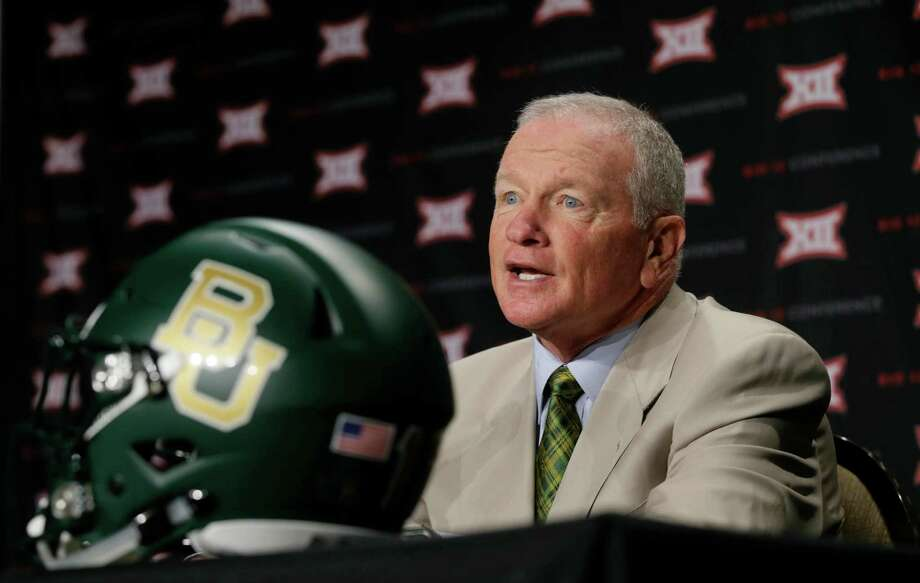 Baylor head coach Jim Grobe speaks to reporters during the Big 12 college football media days in Dallas on July 19, 2016. Photo: LM Otero /Associated Press / Copyright 2016 The Associated Press. All rights reserved. This material may not be published, broadcast, rewritten or redistribu
