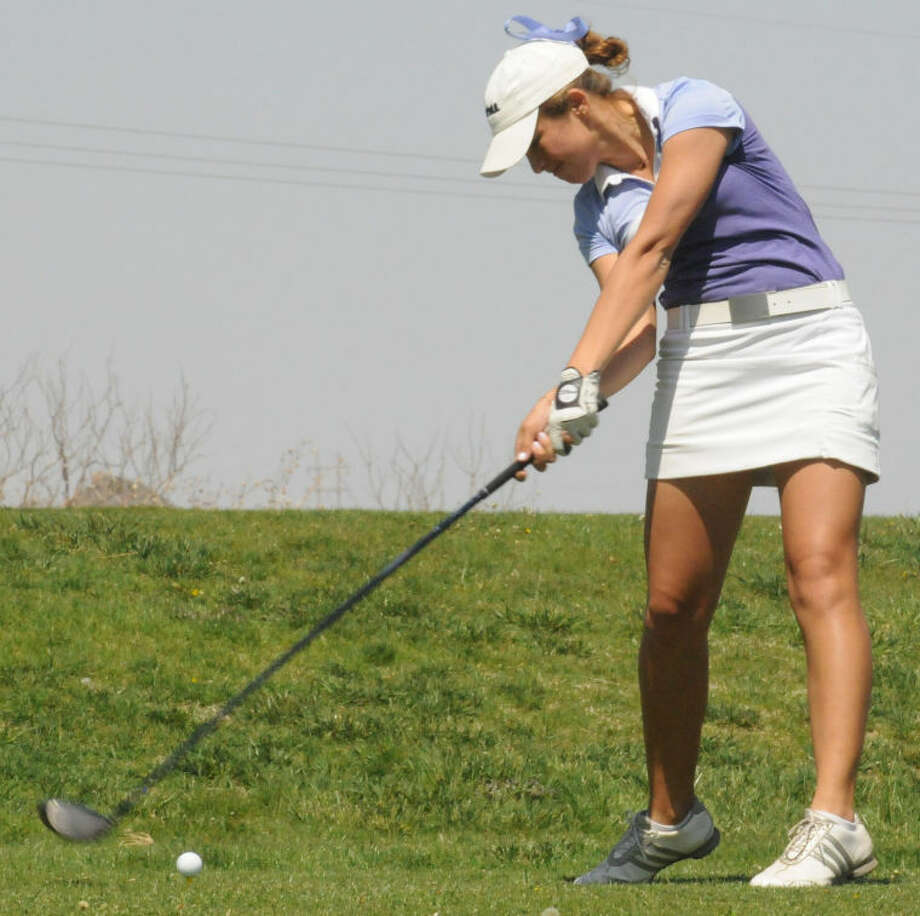 Wayland's Natalia Ugalde tees off on Monday during the Sooner Athletic Conference Championships being played at Tascosa Golf Club's La Paloma Course in Amarillo. Ugalde is tied for fifth after shooting a 77. Play concludes today. Photo: Wayland Baptist University Photo