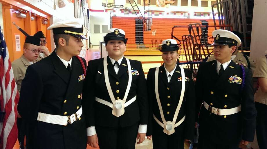 PHS Cadet Lt. Javier Garibay, Cadet Chief Petty Officer Lily Garcia, Cadet Chief Petty Officer Brandy Arroyos and Cadet Master Chief Petty Officer Isaac Sanchez were awarded third place as a team in Mixed Color Guard at the Caprock Meet.