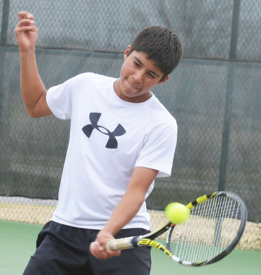 Carlos Subealdea warms up during practice earlier this week. The Tulia sophomore will compete for a Class 2A UIL state tennis championship in the boys singles division at College Station Monday and Tuesday. Last year as a freshman Subealdea teamed with Madison Hoelting to win the mixed doubles state crown. Photo: Skip Leon/Plainview Herald