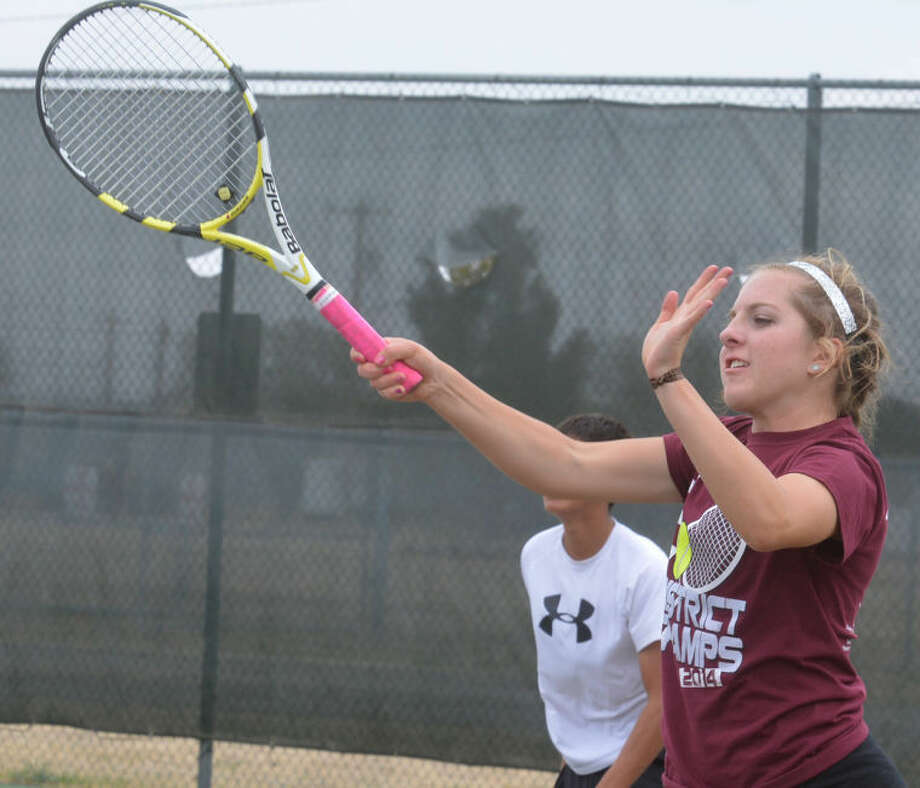 Tulia's Madison Hoelting will vie for a Class 2A mixed doubles state championship Monday and Tuesday. Madison is the defending state champ in mixed doubles along with Carlos Subealdea. Her partner this year is her younger brother, Jaxton. Photo: Skip Leon/Plainview Herald