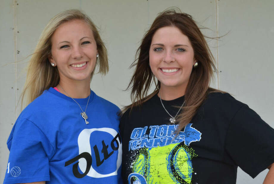 Olton's Dusti Martin (left) and Kara Jones (right) will compete for a Class 2A girls doubles championship at the UIL State Tennis Championships in College Station for the second consecutive year. Photo: Skip Leon/Plainview Herald