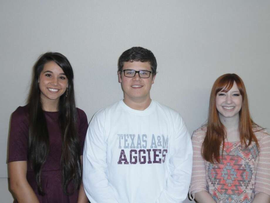 Courtesy PhotoThis year's recipients of the Central Plains A&M Club scholarship, announced during the annual Muster on Monday, include Plainview High School seniors Jill Harrell (left) and Landon Woods and Plainview Christian High senior Jennifer Cummins. The three will be members of the freshman class at A&M this fall.