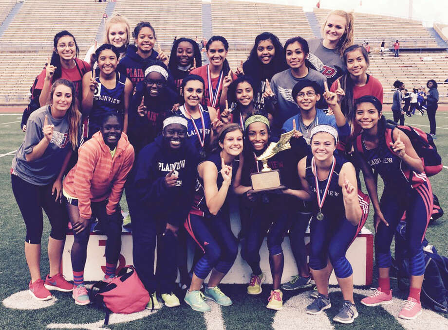 The Plainview girls track team won the District 4-5A championship with 150 points in San Angelo Thursday. They outdistanced runner-up Lubbock Cooper, who finished with 131 points. Photo: Courtesy Photo