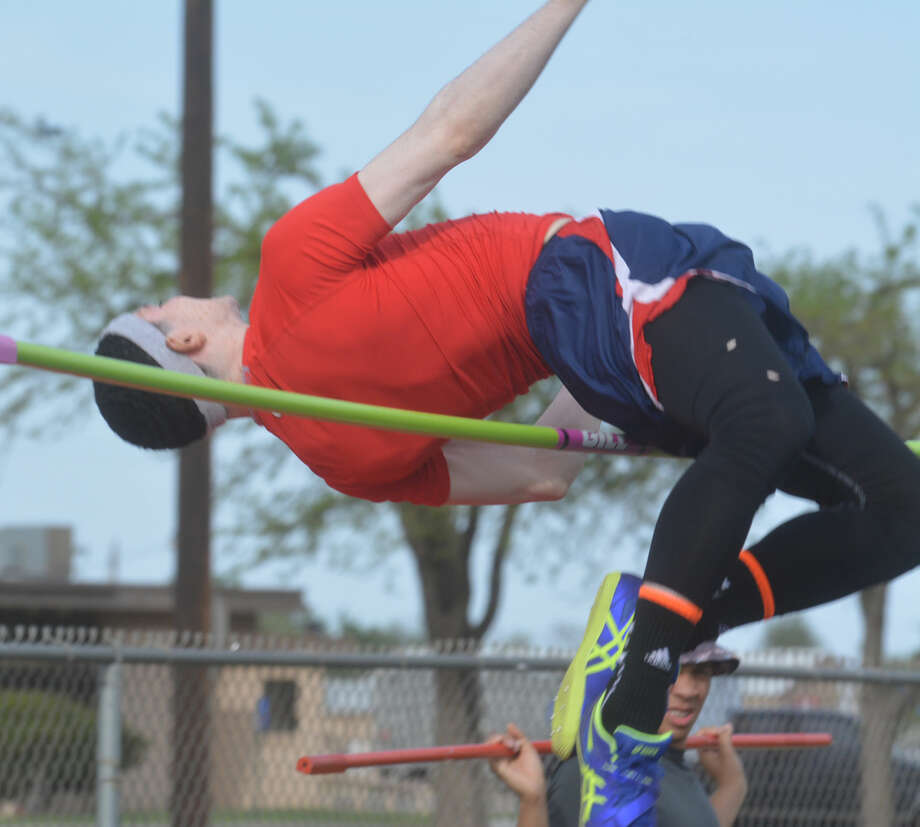 Plainview's Jayton Ellis clears the high-jump bar during a meet earlier this season. Ellis leaped 6-foot-2 to win the District 4-5A championship in San Angelo Wednesday. Photo: Skip Leon/Plainview Herald