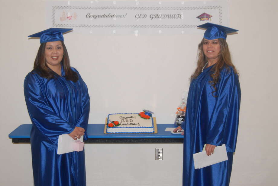 Following a special graduation ceremony, Josefina Aviles, left, and Marisela Belmarez were recognized for being the first former Cargill employees to earn their high school GEDs. Photo: Homer Marquez/Plainview Herald