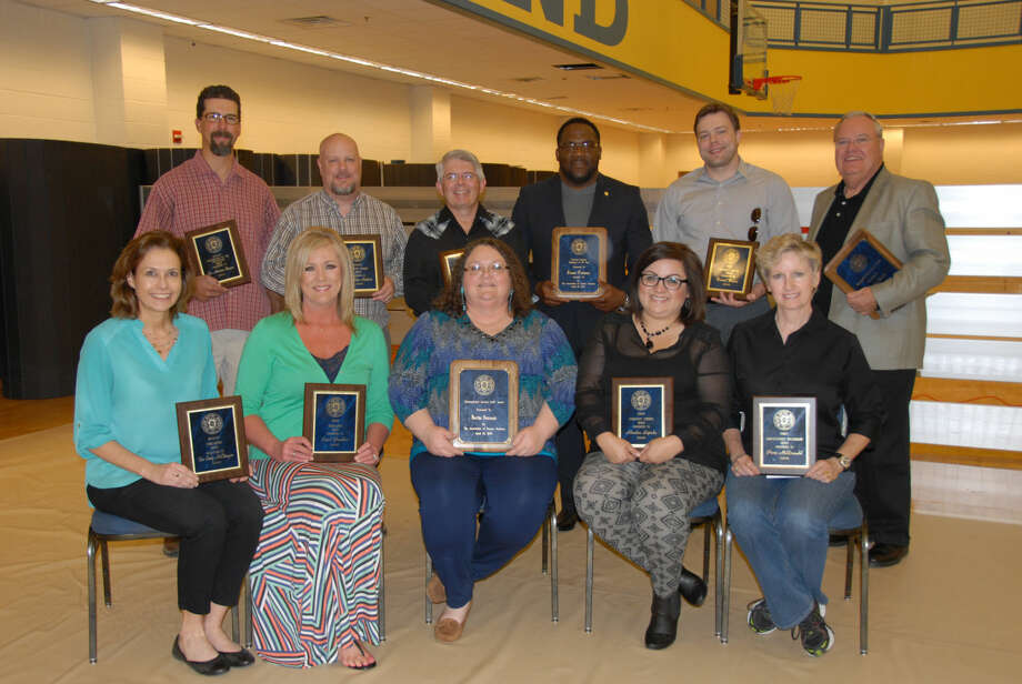 Wayland Baptist University Photo Several Wayland faculty and staff members received special recognition at the annual Faculty and Staff Awards Luncheon on Thursday. Award winner were Dr. Andrew Kasner (back left), Dr. Adam Reinhart, Dr. Gary Gray, James Tudman, Daniel Brown, Dr. Otto B. Schacht, Dr. Cindy McClenagan (front left), Carol Gamboa, Bertha Sistrunk, Randee Sepeda and Perri McDonald.