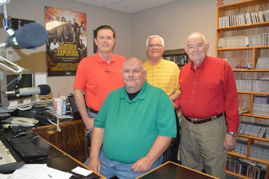 Issuing an invitation to the public to attend the next Business After Hours mixer on Thursday, April 23, at Plainview Radio, 3218 Quincy, are Curtis Spain (left), a partner in HPRN Radio Network; Ben Catley, station operations manager; Danny Andrews, Chamber of Commerce business development chair; and Larry McNutt, on-air personality. The informal business mixer runs from 5-6:30 p.m. Thursday and will give the community an opportunity to meet the new owners of Plainview's KVOP, KKYN, KRIA and KREW radio stations. Hosted jointly by the Chamber and Plainview Radio, the mixer will include hors d'oeuvres, door prizes and an opportunity to network.