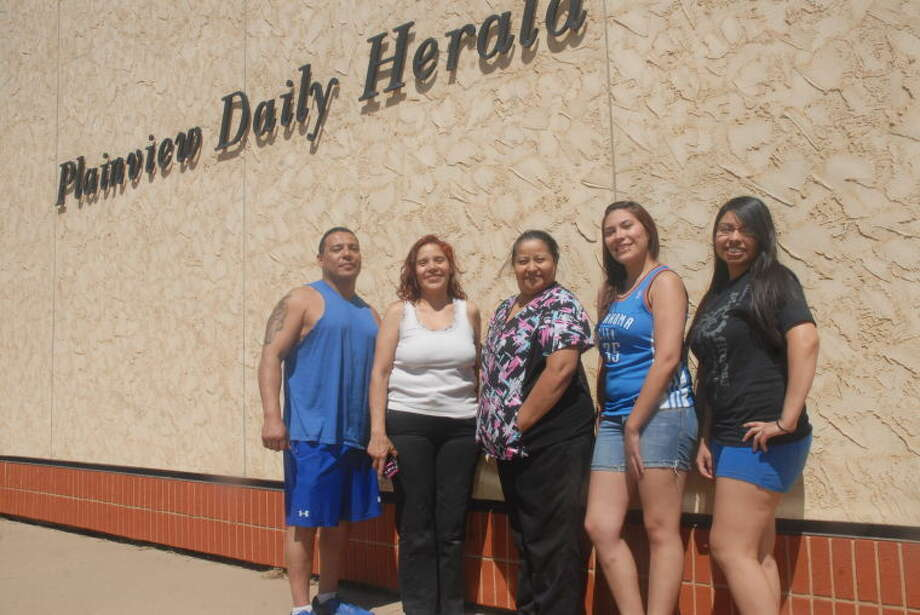 Homer Marquez/Plainview HeraldFor the third consecutive year and for the fifth-time overall, the Bloated Whales took the Pounds Off Plainview weightless competition after the final weigh-in this past Friday. From left, Joe Ferrer, Matilda Mariscal, Elsa Hernandez, Stephanie Ferrer and Emelia Mariscal made up the team that lost a total of 9.8 percent of their body weight in the six-week competition. Starting Pounds Off Plainview with a combined weight of 977 pounds, the group ended the competition with a total of 881 pounds. Winning the weekly prize for the final week was Drop It Like It's Hot with a 1.53 percent loss.
