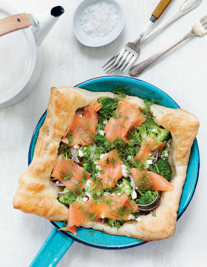 "A simple tart made with puff pastry, broccoli, goat cheese and smoked salmon will brighten Mom's morning. Credit to Alexandra Grablewski for ""Sweet Paul Eat & Make""; Houghton Mifflin Harcourt, 2014."