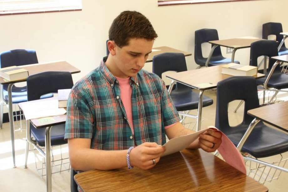Courtesy photoPlainview High School student Cameron Hurta works on ready writing skills in preparation for the state UIL competition.