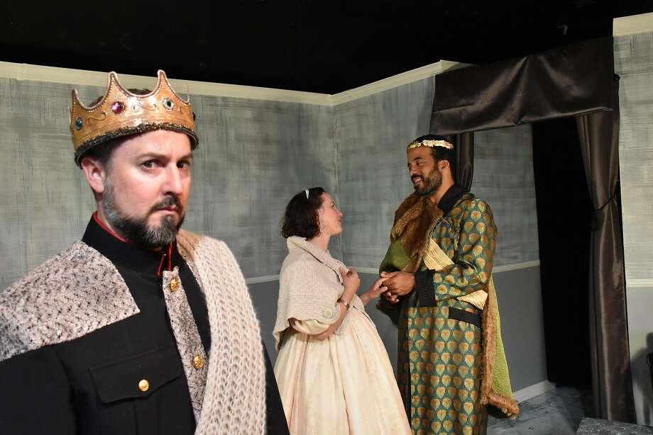 Leontes(Stephen Muterspaugh, left),Hermione(Maryssa Wanlass) andPolixenes(David Everett Moore). Photo: Jay Yamada, San Francisco Shakespeare Festival