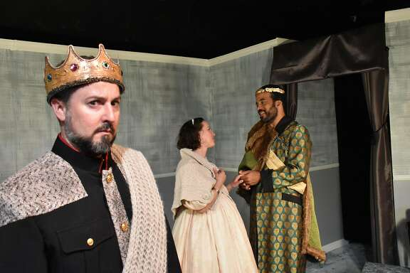 Leontes�(Stephen Muterspaugh, left),�Hermione�(Maryssa Wanlass) and�Polixenes�(David Everett Moore).