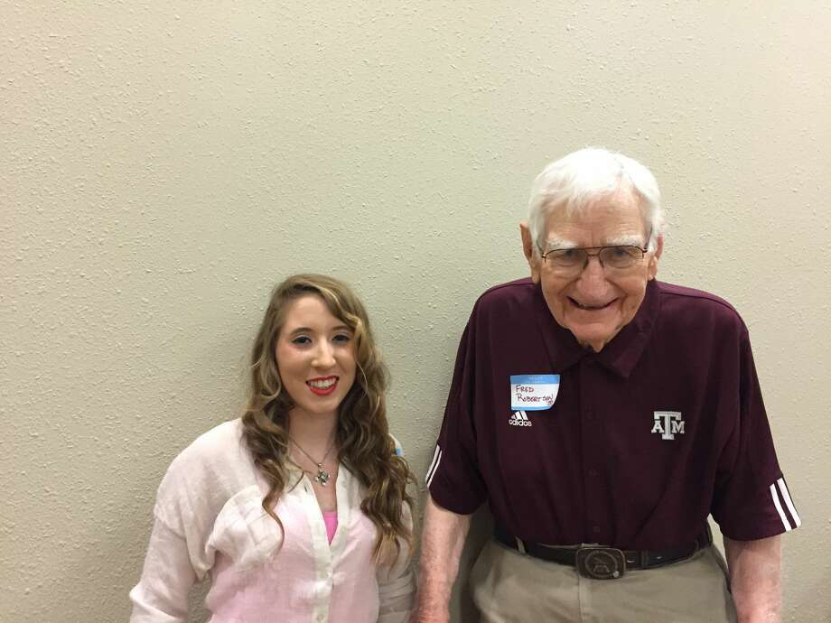 Jordan Hooper, a senior at Plainview Christian Academy, is this year's recipient of the Central Plains A&M Club Scholarship. It was announced April 21 during the annual A&M Muster. One of the Texas A&M alumni at the event was Fred Robertson.