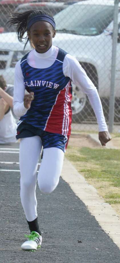 Plainview's Kaizha Roberts won four events — the long jump, triple jump, 100-meter dash and 200-meter dash — at the area track meet at West Texas A&M in Canyon Friday. Photo: Skip Leon/Plainview Herald
