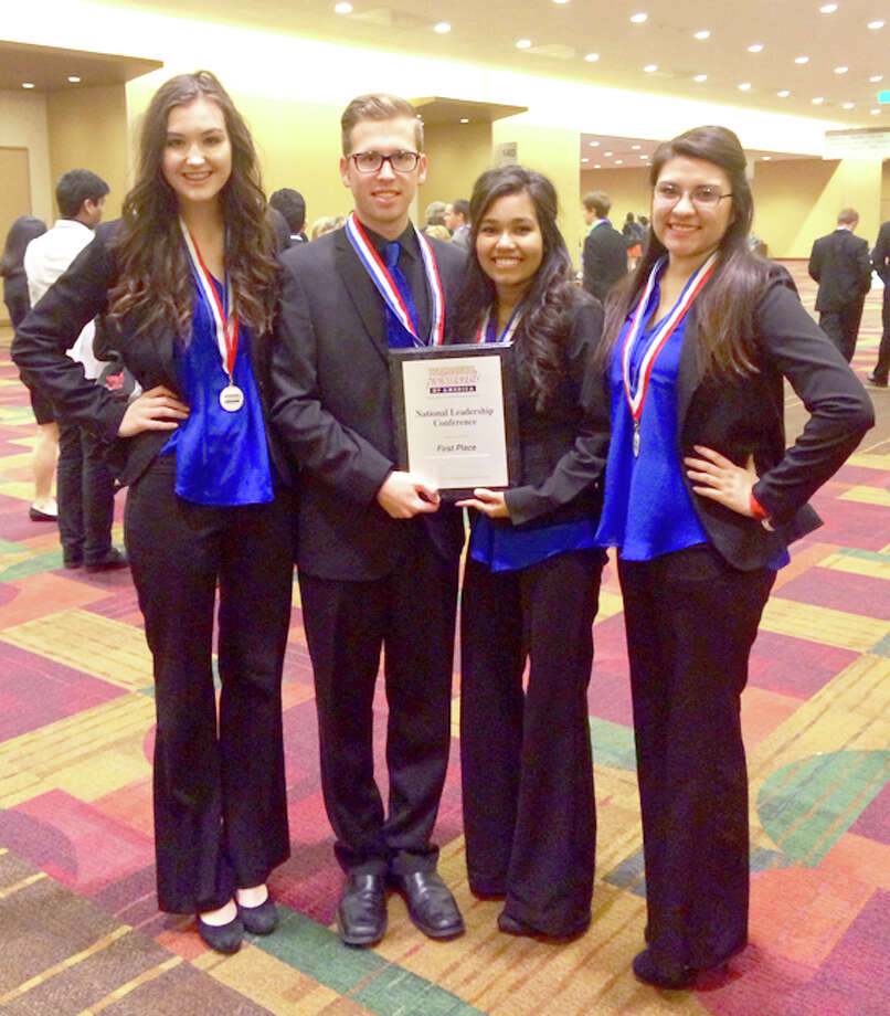 BPA national contest winners from Floydada High School are McKenna Johnson (left), Hunter Schwertner, Cristal Irlas and Samantha Caballero.  Photo: Courtesy Photo | Tasha Hughes