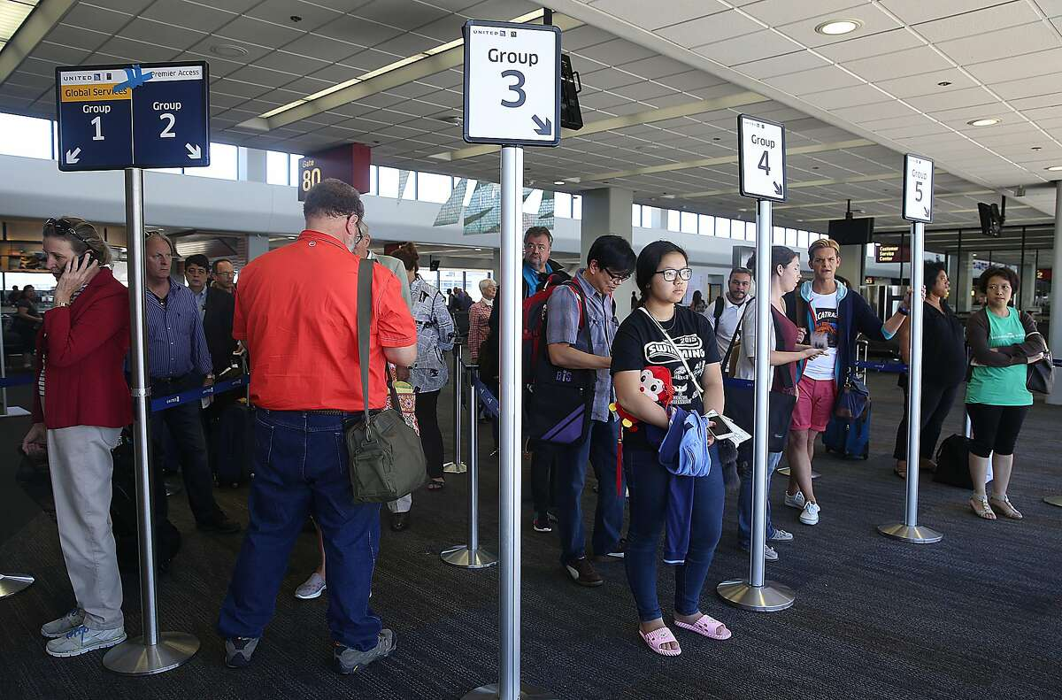 Passengers waiting for a flight out of SFO on a 787 United aircraft at on Tuesday, July 19, 2016, in South San Francisco, Calif. United airlines has added five international routes out of SFO airport since May.