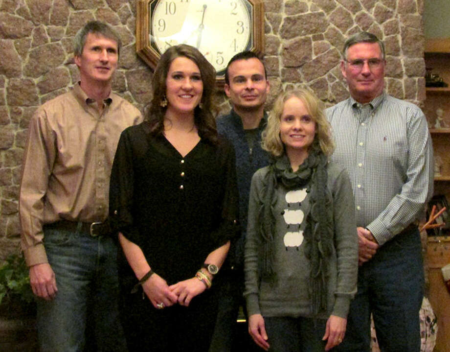 The Vaughan Family Scholarship Fund was recently established with the Southwestern Oklahoma State University College of Pharmacy Foundation in Weatherford. Brad and Tami Vaughan (third and fourth from left) of Perry, Kansas, set up the endowment. Tami Reese Vaughan is a former Plainview resident. They are shown with Steven Vaughan, left, Altus; Malorie Vaughan, Altus; and Randy Vaughan, Hobart. All are graduates or soon to be graduates of the SWOSU College of Pharmacy. Malorie completes her degree in May.