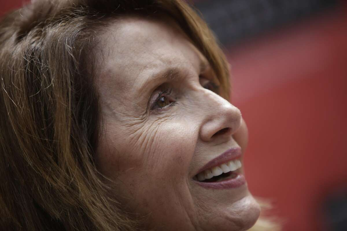 Nancy Pelosi, House Democratic Leader, answers questions from the media during the Dedication Ceremony & Cornerstone Presentationfor The Mexican Museum on July 19 in San Francisco.