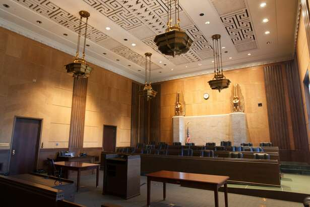 Courtroom four at the 9th Court Circuit of Appeals, located at the corner of 7th and Mission Streets on July 13, 2016.  The courtroom was added during the 1935 addition of the building.