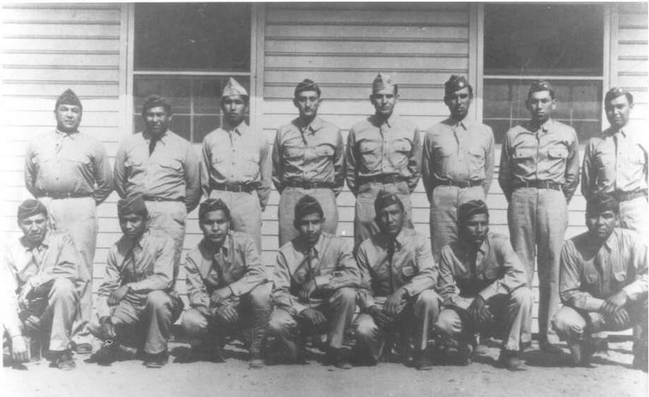 "ComancheLanguage.orgComanche Code Talkers, Fort Benning, Ga., 1941. Roderick ""Dick"" Red Elk is on the front row, extreme left."