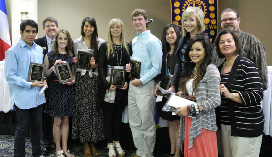 Jordan Castillo (left), McAllister Moore, Rotary President David Kopp, Jill Harrell, Hannah Smith, Wes McCutcheon, Destiny Villanueva, Kendra Stukey, Service Projects Chairman David Hawkins, Camp RYLA and Student of the Month Coordinator Lydia Castillo and Monique Lucio Photo: Gail M. Williams | Herald Lifestyles Editor
