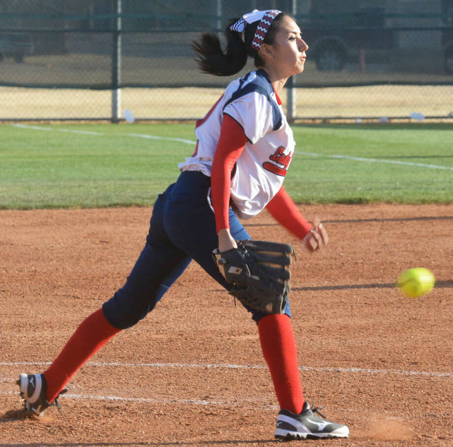 Plainview junior Criselda Luna, shown throwing a pitch during a softball game this season, was voted the co-Most Valuable Player of District 4-4A. Photo: Skip Leon/Plainview Herald
