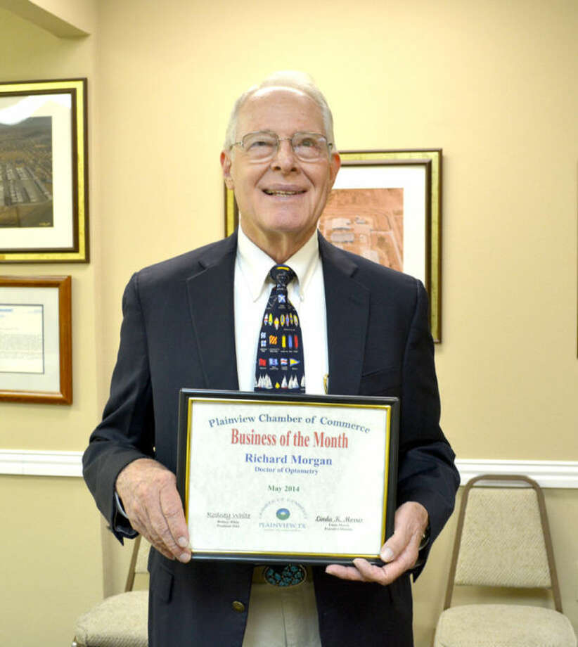 "Doug McDonough/Plainview HeraldLocal optometrist Dr. Richard Morgan was recognized Tuesday as the Chamber of Commerce Business of the Month. His office is located at 2201 Edgemere Dr., and Morgan has been in practice here for 53 years. A 1953 graduate of Plainview High School, he finds Plainview to be a great place to live and practice. ""We have wonderful patients here in Plainview,"" he told Chamber directors. He and his wife, Sharon, have been married since 1960. Morgan has been active in the community over the years, including serving as a member of the Plainview school board."