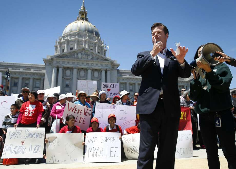 Supervisor Mark Farrell speaks out against an effort to recall Mayor Ed Lee at a City Hall rally by supporters of the mayor in San Francisco, Calif. on Tuesday, July 19, 2016. Photo: Paul Chinn, The Chronicle