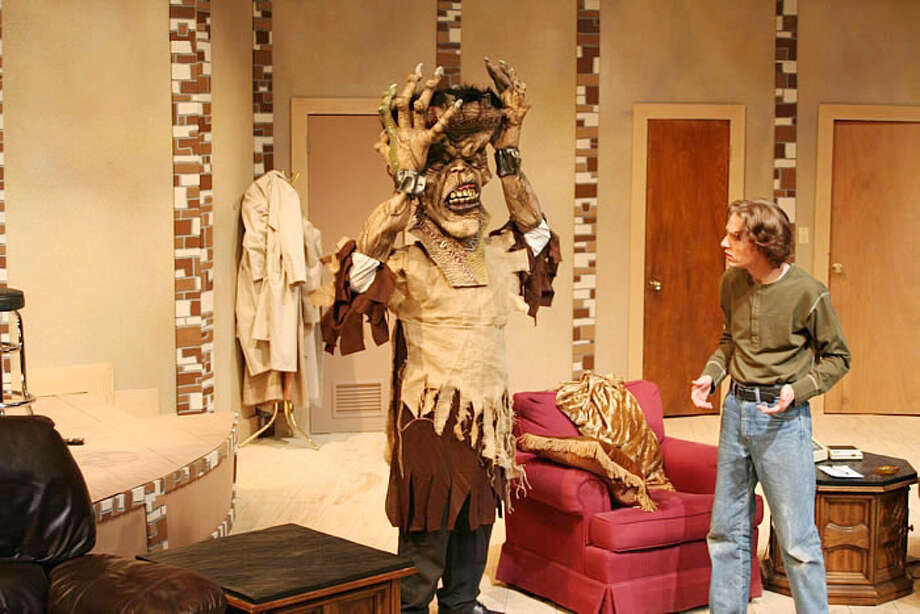 """Jim Fisher, right, talks to an interesting character in Wayland Baptist University's 2006 production of """"The Nerd."""" Fisher, who works as an actor and film director in Chicago, will reprise his role as Willum Cubbert, when the Wayland theater group presents """"The Nerd"""" at the Spencer Theater in Ruidoso, N.M., on June 6. Photo: Jonathan Petty/Wayland Baptist University"""